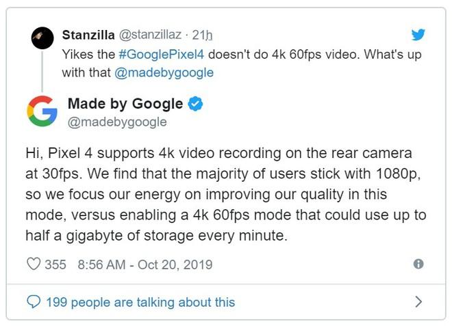 Google giải thích lý do không hỗ trợ quay video 4K 60fps trên Pixel 4 - Ảnh 1.