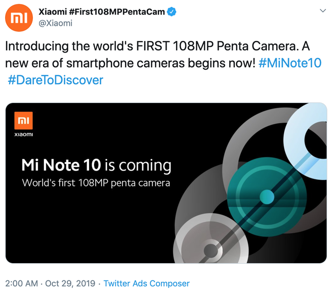 Xiaomi xác nhận ra mắt Mi Note 10 với 5 camera, độ phân giải 108MP - Ảnh 2.