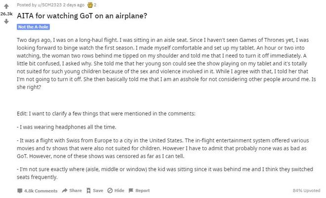 Reddit cãi nhau om sòm bởi anh chàng số nhọ bị mắng là đồ khốn chỉ vì xem Game of Thrones trên máy bay - Ảnh 2.