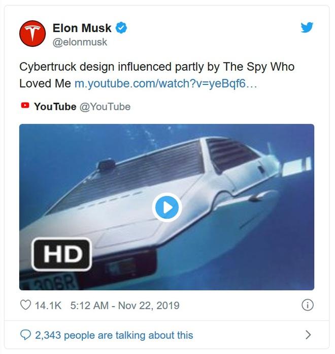 Cybertruck được lấy cảm hứng từ chiếc xe của James Bond năm 1977, Elon Musk đã mua vào năm 2013 - Ảnh 1.