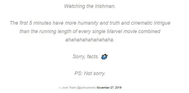 """Đạo diễn Fantastic Four """"cà khịa"""" Marvel: 5 phút đầu của The Irishman hay hơn toàn bộ 23 phim MCU cộng lại - Ảnh 1."""