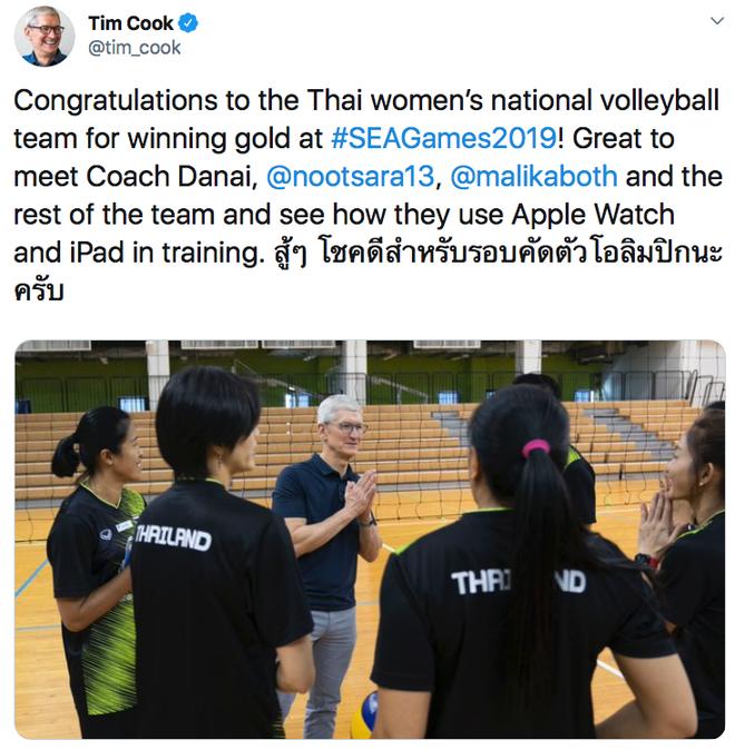 Tim Cook chúc mừng đội tuyển Thái Lan giành HCV SEA Games 30 - Ảnh 1.