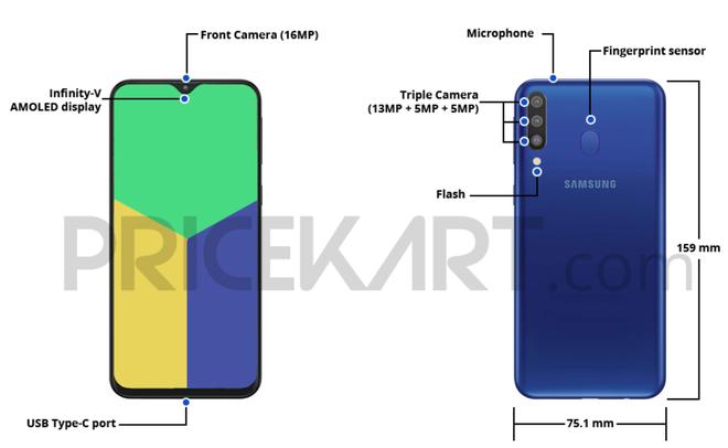 Samsung Galaxy M30 với 3 camera sau, pin 5.000mAh, 4GB RAM sẽ ra mắt vào đầu tháng 3, giá từ 4,9 triệu - Ảnh 1.