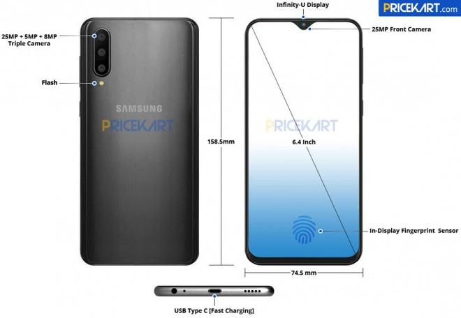 Samsung Galaxy A50 lộ diện với màn hình Infinity-U 6,4 inch, 3 camera sau và cảm biến vân tay dưới màn hình - Ảnh 1.