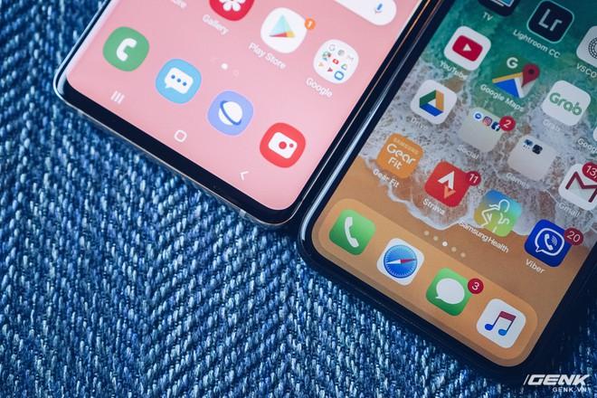 So sánh màn hình Galaxy S10+ và iPhone XS: Đục lỗ hay tai thỏ? Cằm ai mỏng hơn? - Ảnh 4.