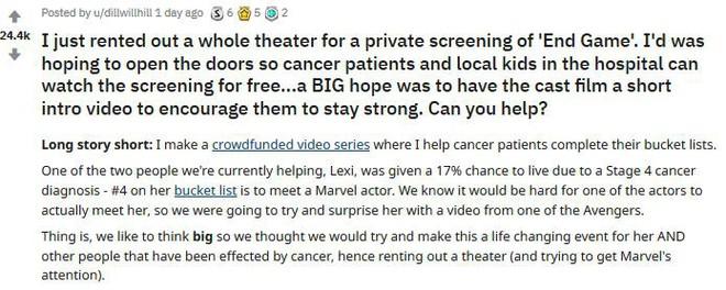 Cảm động nhóm từ thiện bao nguyên rạp chiếu phim để bệnh nhân ung thư xem Endgame miễn phí - Ảnh 1.
