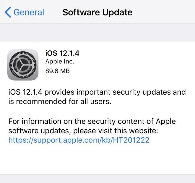 Apple tung ra iOS 12.1.4 bịt lỗ hổng nghe lén bằng FaceTime - Ảnh 1.