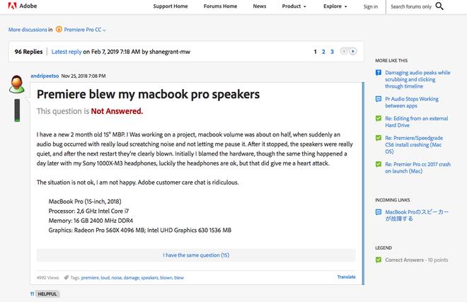Phần mềm chỉnh sửa video Adobe Premiere bị tố làm hỏng loa MacBook Pro - Ảnh 1.