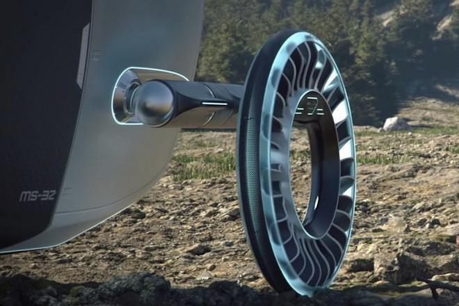 Độc đáo ý tưởng lốp xe kiêm cánh quạt, vừa là bánh xe đi trên mặt đất nhưng cũng có thể biến thành cánh quạt khi bay - Ảnh 1.
