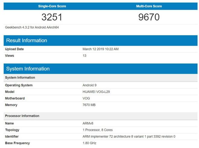 Huawei P30 Pro lộ điểm benchmark, thua xa so với Galaxy S10+ và iPhone XS Max - Ảnh 2.