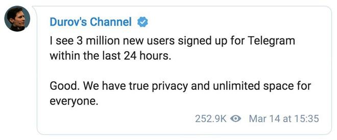 Facebook sập trên toàn cầu, Telegram hưởng trọn với hơn 3 triệu người dùng mới đăng ký dịch vụ - Ảnh 1.