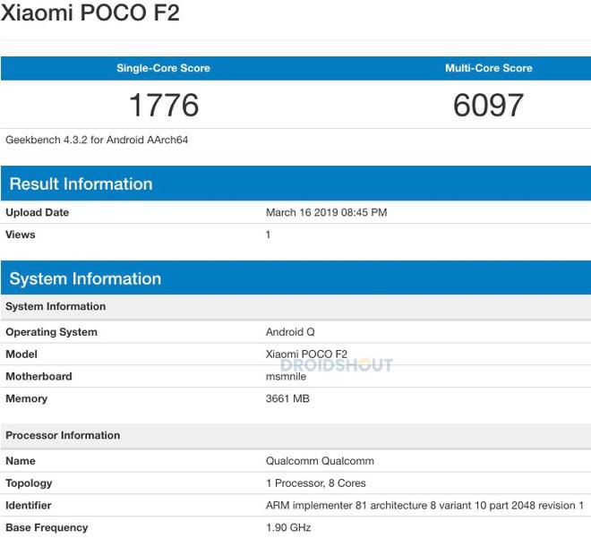 Xiaomi Poco F2 lộ điểm hiệu năng thất vọng với chip Snapdragon 855 và Android Q - Ảnh 1.