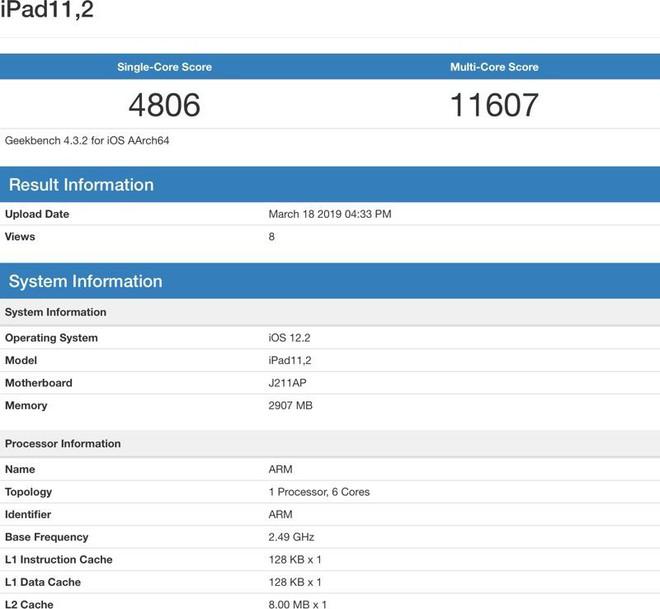 Xuất hiện điểm benchmark của chiếc iPad mới: A12 Bionic, 3GB RAM, xung nhịp bằng với iPhone 2018 - Ảnh 2.