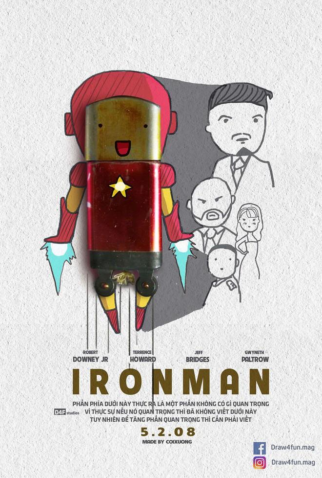 Họa sĩ Việt tiếp tục gây bất ngờ khi tái tạo toàn bộ poster phim Marvel từ dầu gió, cao sao vàng, diêm Thống Nhất - Ảnh 1.