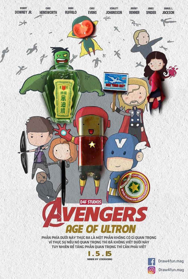 Họa sĩ Việt tiếp tục gây bất ngờ khi tái tạo toàn bộ poster phim Marvel từ dầu gió, cao sao vàng, diêm Thống Nhất - Ảnh 11.