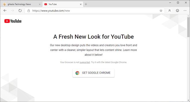 Google chặn không cho trình duyệt Edge mới của Microsoft truy cập thiết kế mới của YouTube - Ảnh 1.