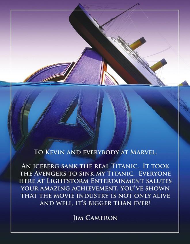 Đạo diễn James Cameron gửi lời chúc mừng Marvel: Avengers đã đánh chìm Titanic của tôi rồi - Ảnh 1.
