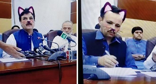 Pakistan: Live-stream họp báo chính phủ nhưng quên tắt filter mèo hồng cute - Ảnh 1.