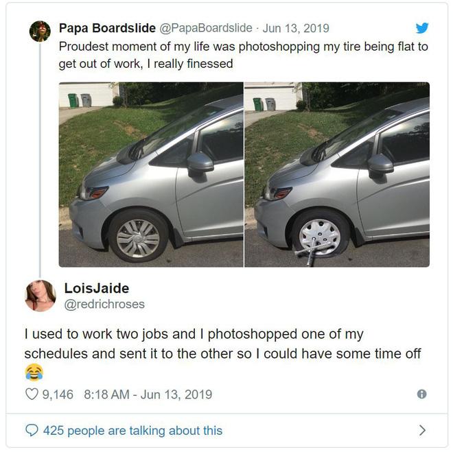 Chán đi làm, thanh niên Photoshop ảnh xe của mình bị thủng lốp để xin nghỉ - Ảnh 3.