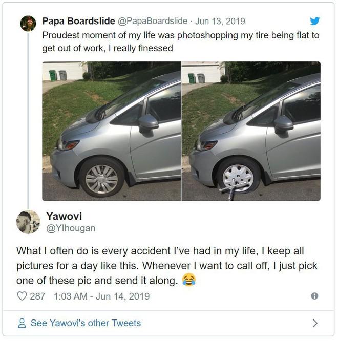 Chán đi làm, thanh niên Photoshop ảnh xe của mình bị thủng lốp để xin nghỉ - Ảnh 4.