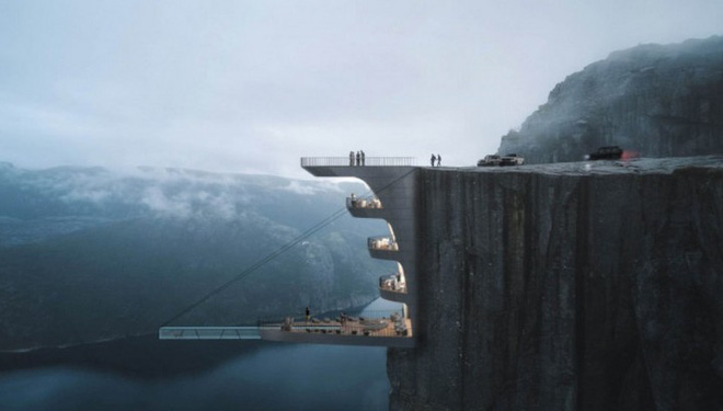 Độc đáo ý tưởng khách sạn xây dựng sát vách núi với hồ bơi vô cực kéo dài ngoài mỏm đá - Ảnh 1.