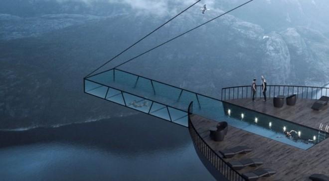 Độc đáo ý tưởng khách sạn xây dựng sát vách núi với hồ bơi vô cực kéo dài ngoài mỏm đá - Ảnh 3.