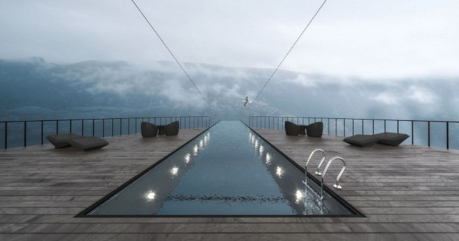 Độc đáo ý tưởng khách sạn xây dựng sát vách núi với hồ bơi vô cực kéo dài ngoài mỏm đá - Ảnh 2.