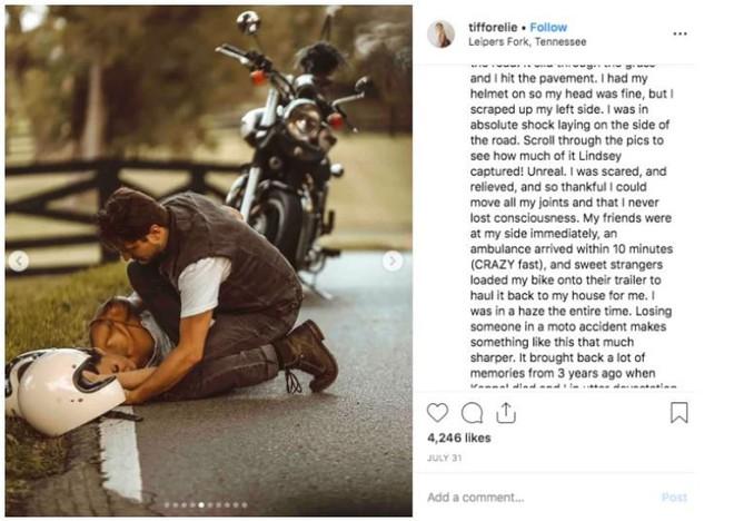 Bị tai nạn xe máy mà vẫn có bộ ảnh cực nghệ, hot Instagrammer bị cộng đồng mạng mắng cho 1 trận vì tội dàn cảnh sống ảo - Ảnh 2.