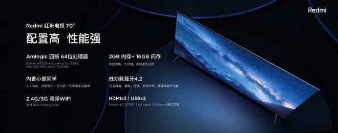 Redmi TV với màn hình 4K HDR 70 inch, RAM 2 GB vừa chính thức ra mắt với giá 531 USD - Ảnh 2.
