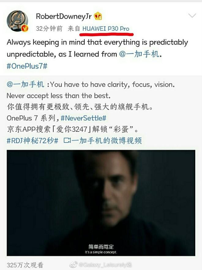 Iron Man Robert Downey Jr. dùng Huawei P30 Pro để quảng cáo cho OnePlus - Ảnh 2.