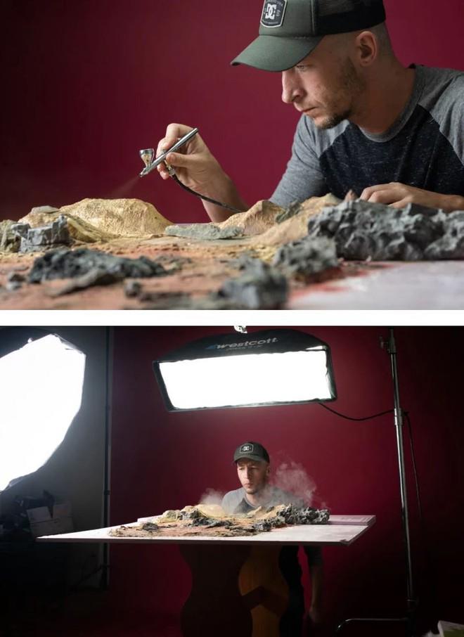 Nhiếp ảnh gia này tái hiện những cảnh đẹp choáng ngợp của phim Chúa tể của những chiếc nhẫn ngay trên chiếc bàn của mình - Ảnh 4.