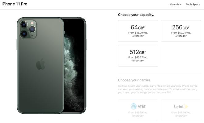 Không Pro: iPhone 11 Pro có bộ nhớ trong khởi điểm chỉ là 64GB - Ảnh 1.
