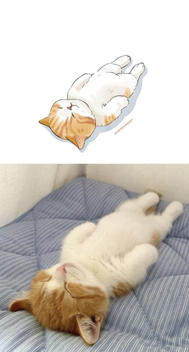 Lấy meme mèo trên mạng vẽ thành tranh nước, họa sĩ cho ra đời tác phẩm đẹp nên thơ bất ngờ - Ảnh 13.