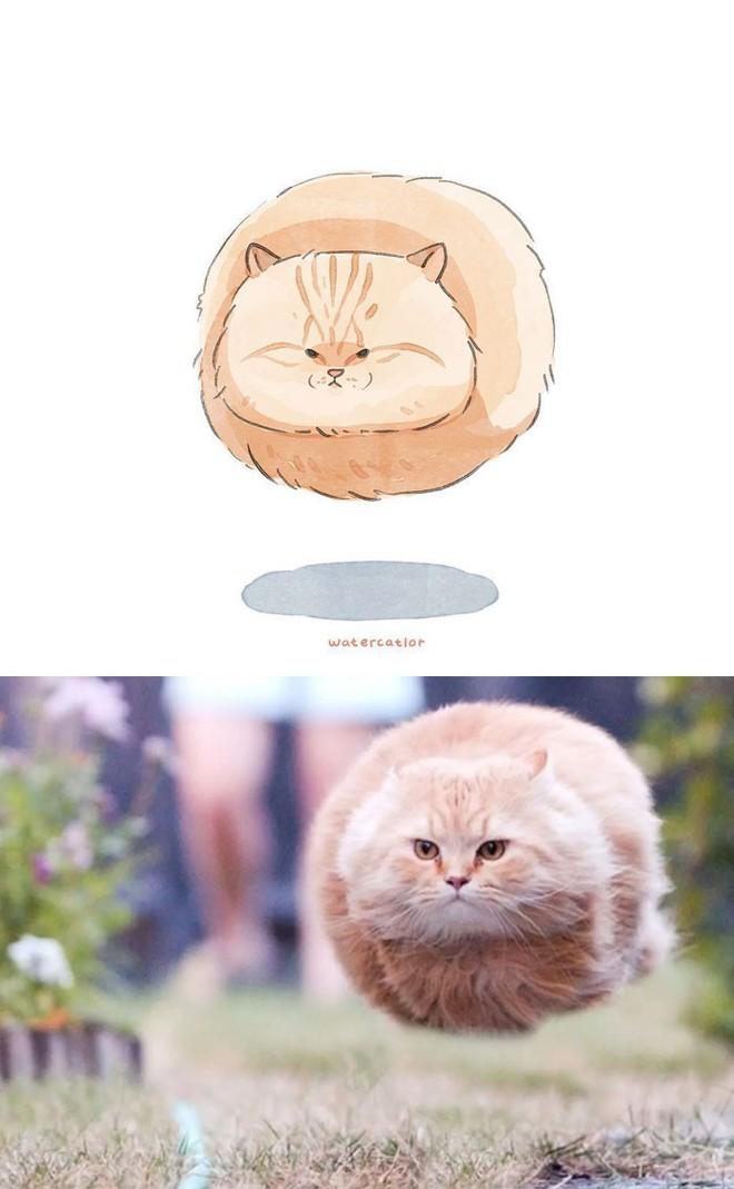 Lấy meme mèo trên mạng vẽ thành tranh nước, họa sĩ cho ra đời tác phẩm đẹp nên thơ bất ngờ - Ảnh 14.