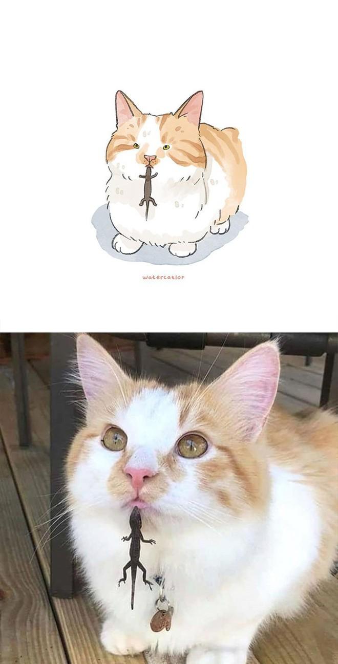 Lấy meme mèo trên mạng vẽ thành tranh nước, họa sĩ cho ra đời tác phẩm đẹp nên thơ bất ngờ - Ảnh 2.