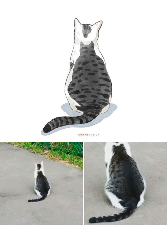 Lấy meme mèo trên mạng vẽ thành tranh nước, họa sĩ cho ra đời tác phẩm đẹp nên thơ bất ngờ - Ảnh 3.