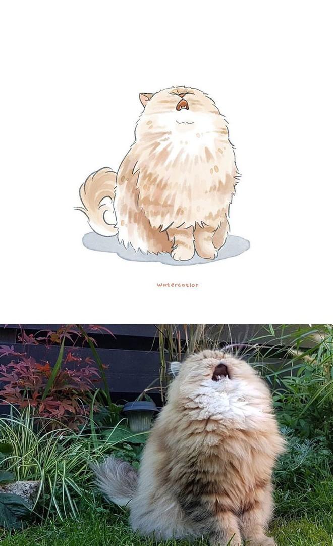 Lấy meme mèo trên mạng vẽ thành tranh nước, họa sĩ cho ra đời tác phẩm đẹp nên thơ bất ngờ - Ảnh 5.