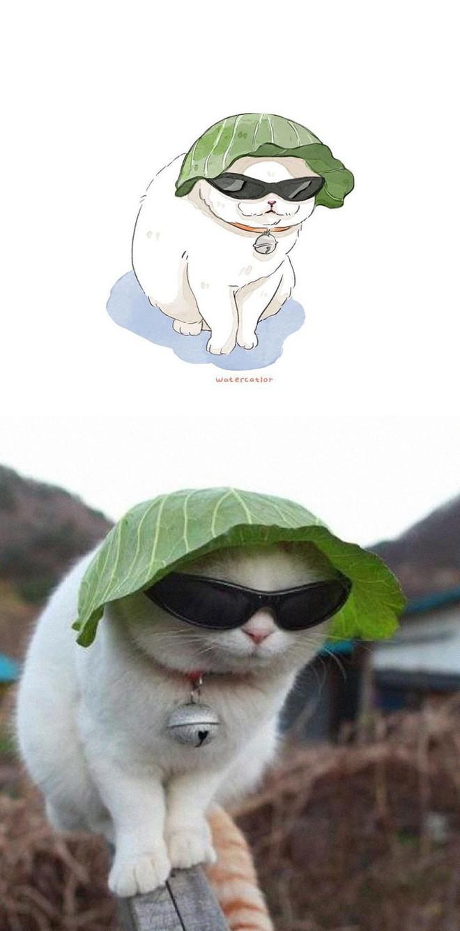 Lấy meme mèo trên mạng vẽ thành tranh nước, họa sĩ cho ra đời tác phẩm đẹp nên thơ bất ngờ - Ảnh 9.