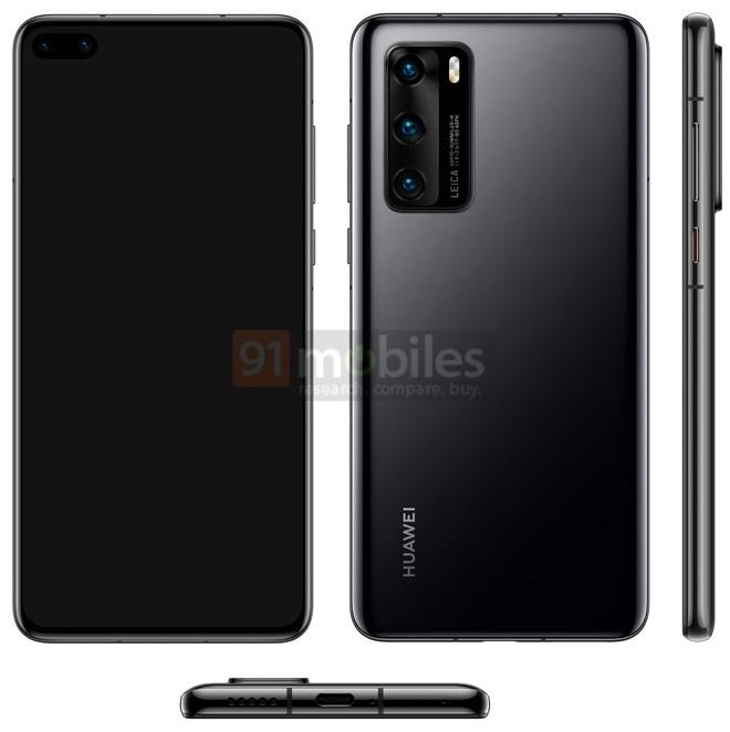 Huawei P40 lộ ảnh render: Màn hình nốt ruồi như Galaxy S10+, cụm 3 camera chính giống Galaxy S20 - Ảnh 1.