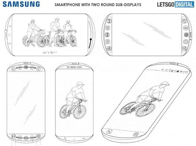 Bằng sáng chế smartphone của Samsung có tới 3 màn hình, thiết kế viền tròn như máy chơi game cầm tay - Ảnh 2.