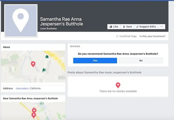 Cơn ác mộng khi Facebook liệt kê lỗ hậu của bạn là một địa chỉ doanh nghiệp trong suốt 8 năm trời - Ảnh 1.