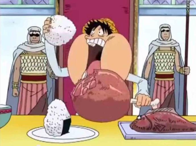 Luffy có thể ăn rất nhiều và cũng rất nhanh…
