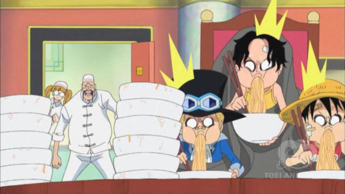Về khoản ăn uống thì đố ai địch lại 3 anh em Luffy nhà ta.