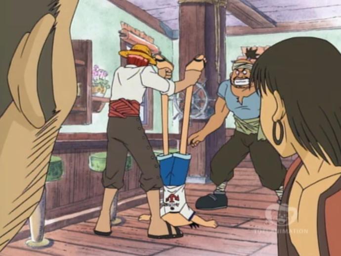 Shanks đã phải dốc ngược Luffy lên với hy vọng mong manh cậu sẽ nôn ra trái ác quỷ vừa ăn.