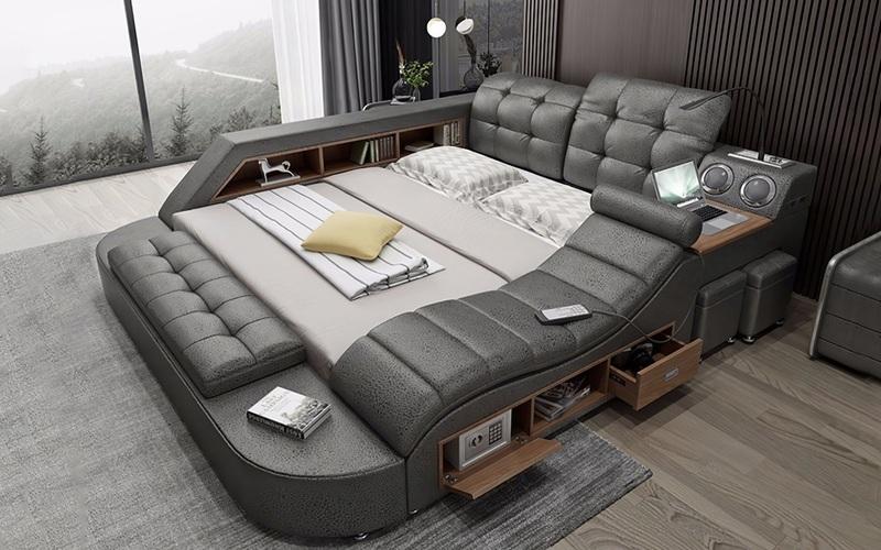 """Chiếc giường trong mơ cho các """"thánh lười"""", gắn kèm cả ghế massage và hệ thống loa cực xịn sò, giá chỉ từ 65 triệu đồng"""