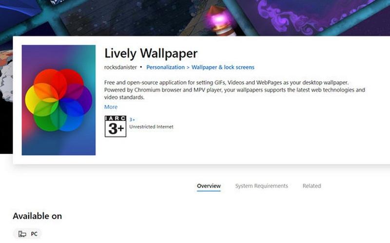 Đã có thể cài hình nền động trên Windows 10 thông qua ứng dụng trên Microsoft Store