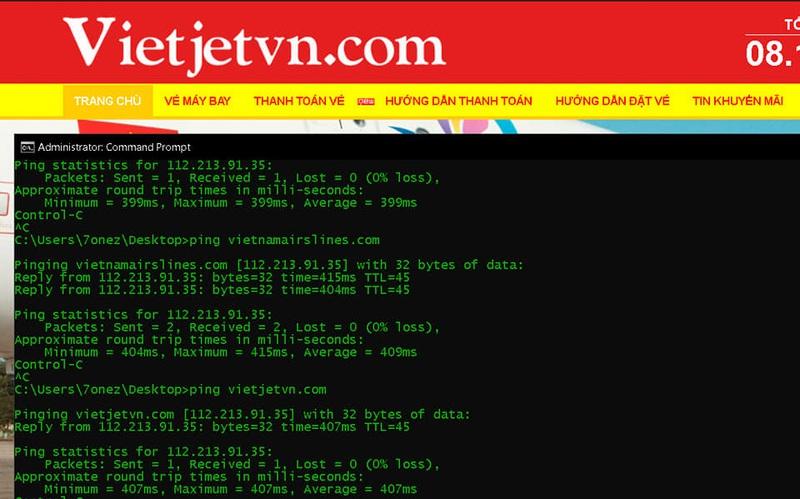 Sau thông báo của Hieupc, 2 website giả mạo các hãng hàng không đã bị mất khả năng truy cập