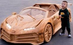 """Độc nhất vô nhị: """"Bố trẻ"""" dành 40 ngày làm siêu xe Bugatti Centodieci bằng gỗ tặng con trai"""
