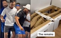 Cần đến 9 người trưởng thành cùng nhún nhảy mới có thể làm sập chiếc giường làm từ bìa carton tại Olympics 2020