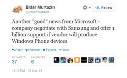 """Microsoft """"mồi chài"""" Samsung 1 tỷ USD để sản xuất điện thoại Windows Phone"""